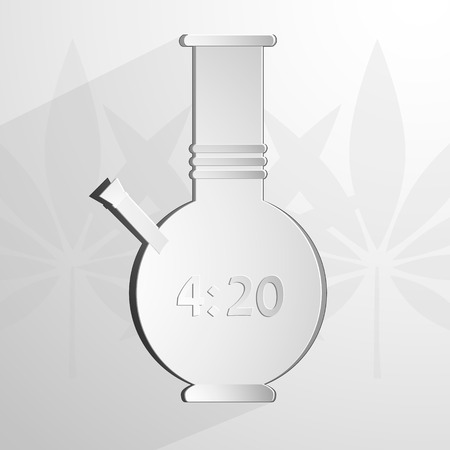 junkie: stylized white bong with an inscription 4 20. Vector background Eps 10