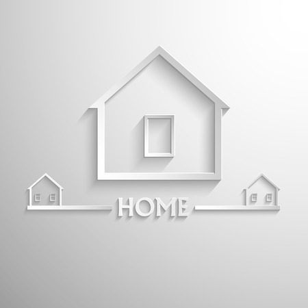letting: Symbol with green houses on the grey background. Eps 10 vector file. Illustration