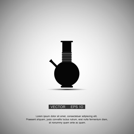 bong: Black symbol bong smoking marijuana. Vector eps 10 Illustration