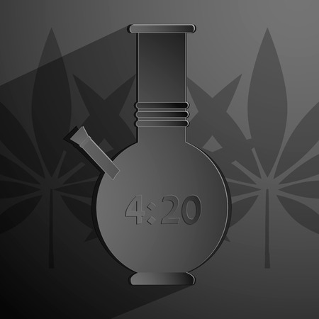 inhale: stylized black bong with an inscription 4 20. Vector background Eps 10
