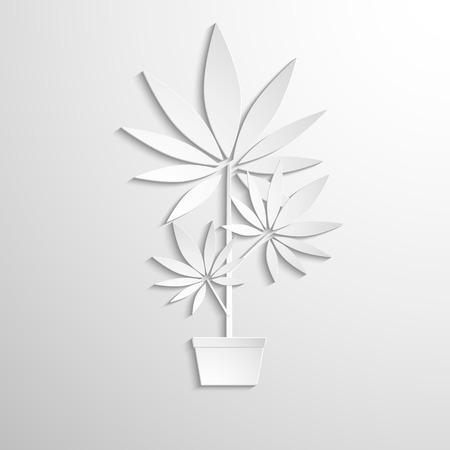 ivresse: symbole de la culture de la marijuana coup� papier blanc. Vecteur de fond