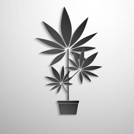 ganja: symbol of growing marijuana cut black paper. Vector background Illustration