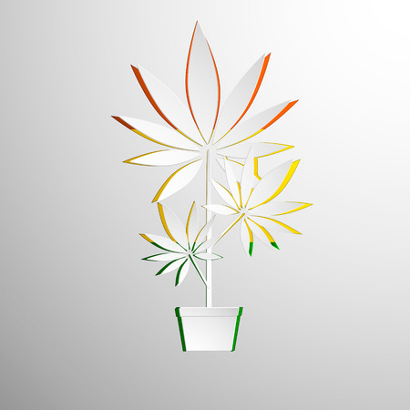 indica: symbol of growing marijuana cut white paper. Vector background Illustration