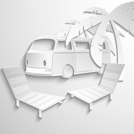 Hippie van travel beach adventure vacation flat 3d web isometric infographic concept vector. Minibus microbus bus vehicle suitcases surfboard palms sand and sea inside. Creative tourism collection. Vector eps 10 Vector