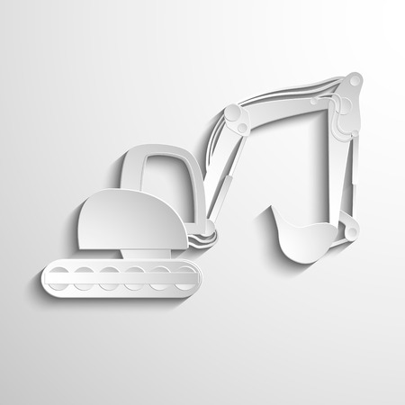 tracked: Heavy tracked  white excavator isolated on light-white background in polygonal style. Illustration