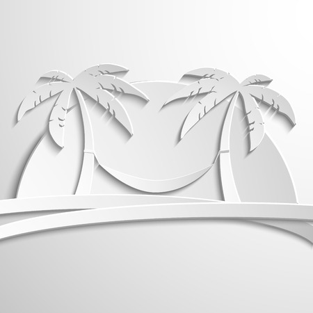 uninhabited: White Paper Palma on the island in the sea. The palm tree in the background of the sunset. Vector illustration modern template design.