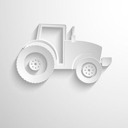 tractor sign: Cutout paper background. Tractor sign icon. Agricultural industry symbol. White poster with icon. Illustration