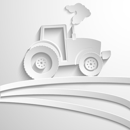 agricultural crops: farm tractor cut paper design background. Vector