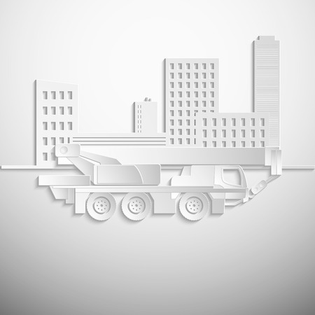 hydraulic: Vector illustration of a white hydraulic crawler crane. Vector paper background