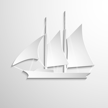 Sailboat paper white on jigh background. Vector