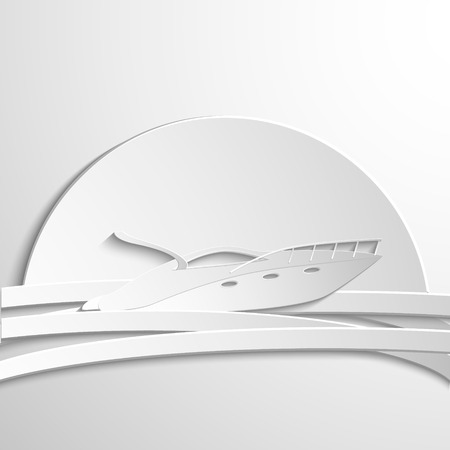 motorboat: symbol white motorboat in paper style. Vector icon Illustration