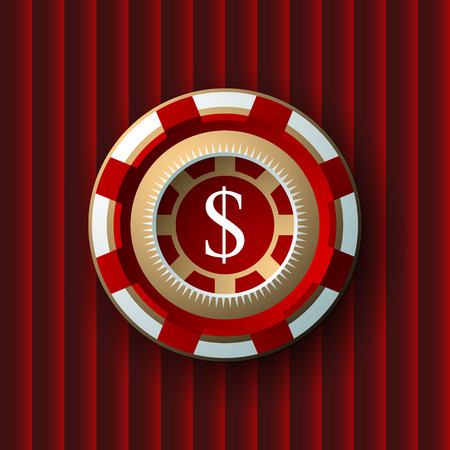 casino chip: single red and  white casino chip isolated on vinous background. Vector Illustration