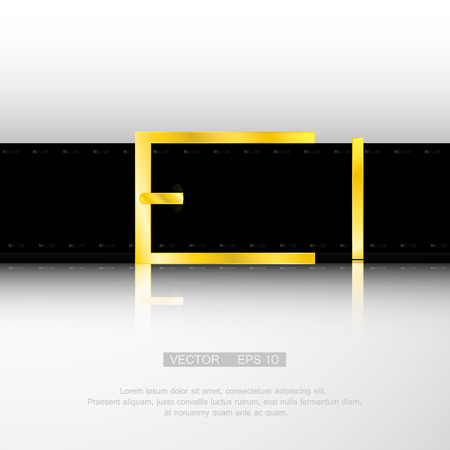gold buckle: black belt with gold buckle for uniforms. Illustration