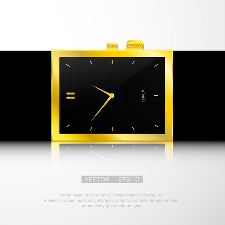 gold watch: Vector illustration of gold watch with black face.