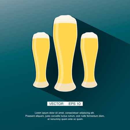 Beer icon in modern flat design with long shadow. Alcohol beverage drink symbol in vintage style Eps10 vector illustration. Vector