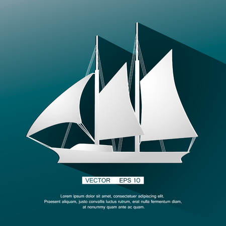 Sailing yacht flat square vecror icon with long shadows. Vector