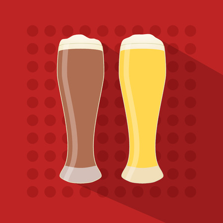 long drink: Beer icon in modern flat design with long shadow. Alcohol beverage drink symbol in vintage style Eps10 vector illustration.