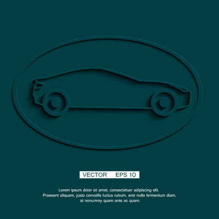 coupe: stylized sports car coupe. Vector icon or symbol Illustration