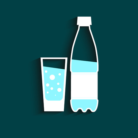 Bottle of water and glass.