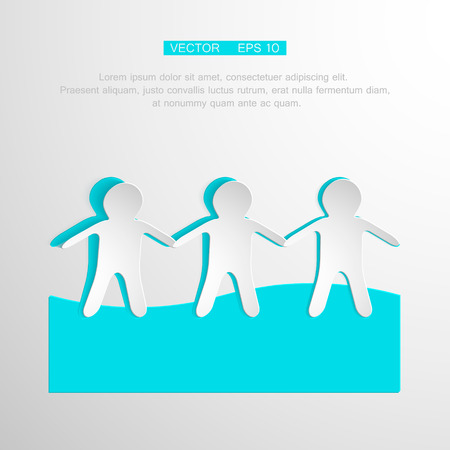 Paper People Holding Hands on white Background. Vector symbol business team Vector