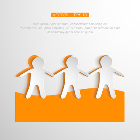 hand holding paper: Vector togetherness concept illustration. People symbol chain. Illustration