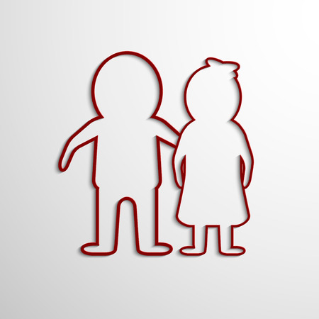 linked hands: Vector Paper Cut Man and woman.