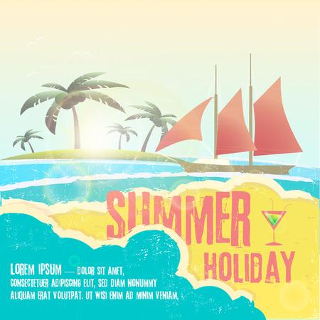Seaside view poster. Vector background. eps 10 Ilustração