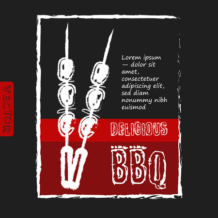 cousin: BBQ poster stylized like sketch drawing on the chalkboard.Vector illustration. Eps 10
