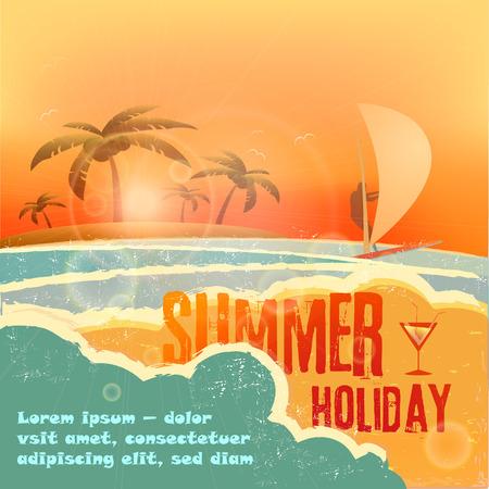 vacaciones en la playa: costa del oc�ano en la puesta del sol del vector Cartel en Dise�o retro del estilo Vectores