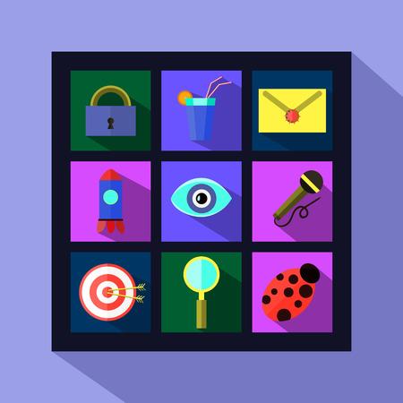 mobile communications: Basic Flat icon set for Web and Mobile Application. News communications. Vector eps 8 Illustration