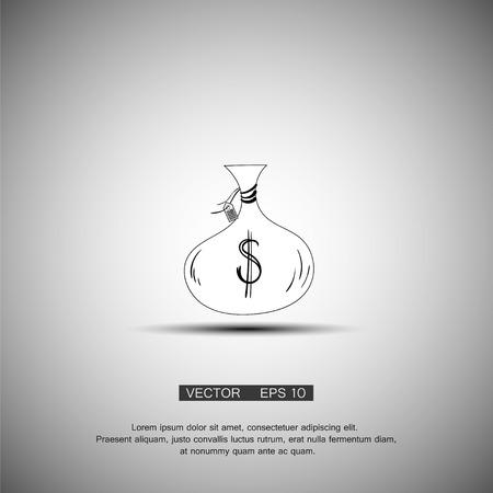 Money bag icon. Vector symbol dollar. Eps 10