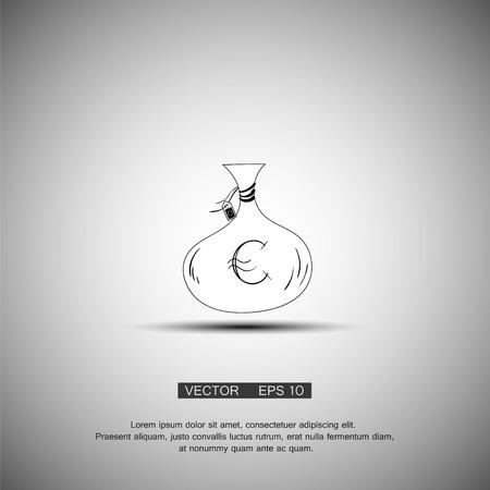 simbol: Icona del sacchetto di denaro. Euro simbolo di valuta euro. Appartamento stile di design. EPS 10. Vettoriali