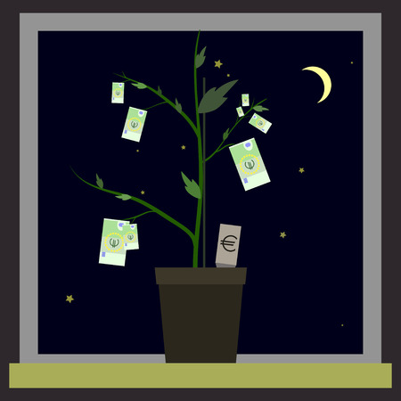 tuber: Growing euro sign like plant with leaves and dollar sign like root. Plant roots and tuber in shape of money symbol. Vector illustration for banking financial industry economy accounting etc Eps 8 Illustration