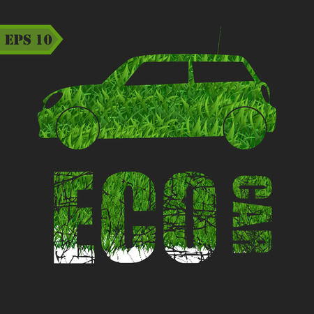 harmless: Eco car made of green leaves concept. Vector background Illustration