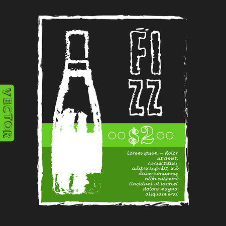 fizz: menu for a restaurant with bottle of fizz  on the black background. Vector menu template