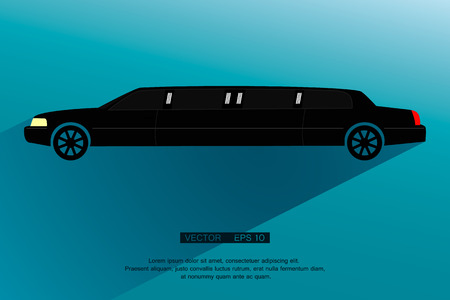 black  limousine. vector silhouette with flat shadow Çizim