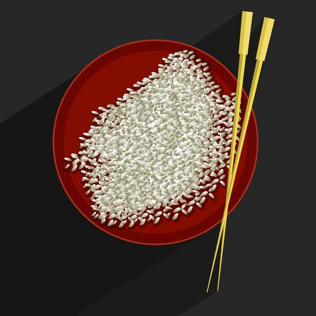 reis gekocht: Vector Illustration einer Reissch�ssel und Ess-St�bchen