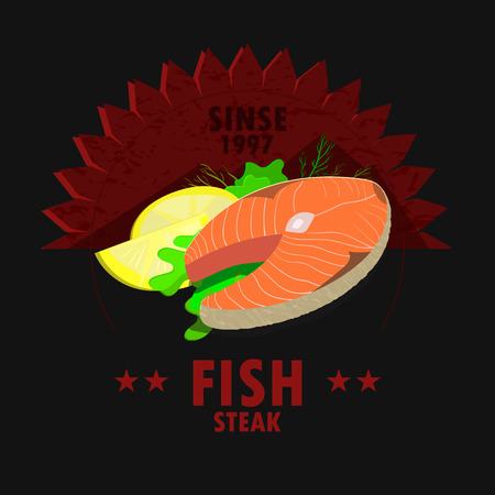 fish steak: Vintage fish steak house poster design. Vector restaurant menu.