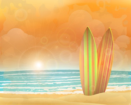 surfboards: sunset beach with surfboards. vector background.
