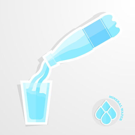 Glass of water and bottle of water icon. Water balance concept. Flat icon with long shadow. Vector illustration eps