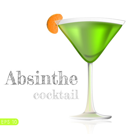 inclined: Cocktail glass filled with green inclined drink isolated on white background. Vector collection bar menu