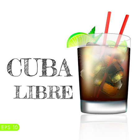 Cuba Libre Drink with lime on a white background. Vector collection bar menu