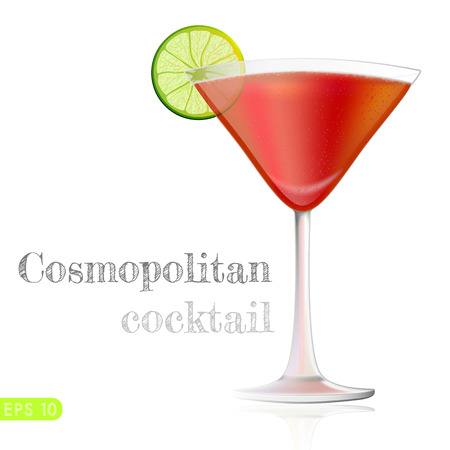 cosmopolitan: Red Cosmopolitan Cocktail served with a slice of a lime, isolated on a white background. Vector collection bar menu