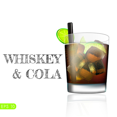 Whiskey cola cocktail. Isolated on white background. Vector collection bar menu Ilustração