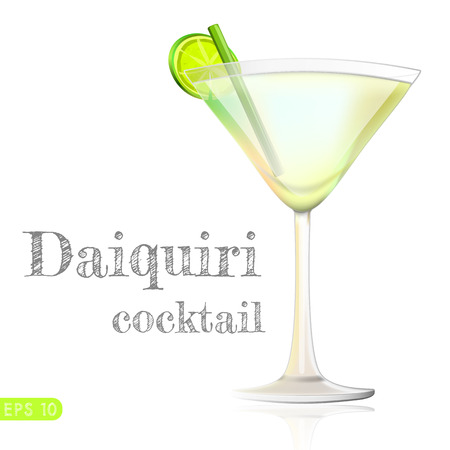 daiquiri: Classic daiquiri cocktail on poolside bar. Vector collection bar menu Illustration