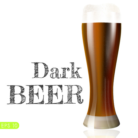 dark lager: Dark beer in mug. Objects on white background. Vector collection bar menu