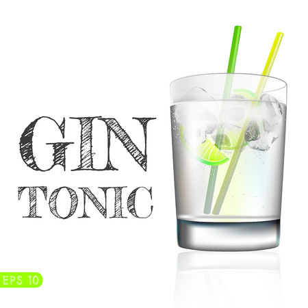 Gin and tonic in a balloon glass garnished with lemon and isolated over awhite background. Vector collection bar menu Çizim