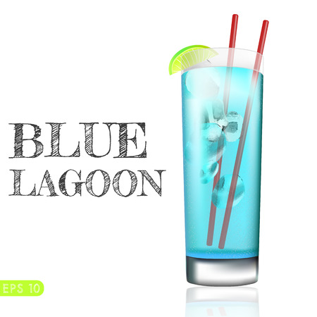 blue lagoon: blue lagoon coctail with fantasy straw. Vector collection bar menu