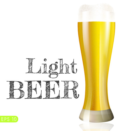 frosty: Frosty glass of light beer isolated on a white background. Vector collection bar menu Illustration