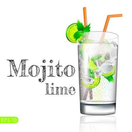 Mojito cocktail isolation on a white. Vector collection bar menu Illustration
